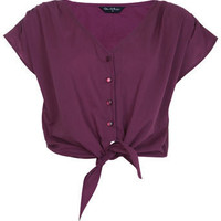 Berry Crop Tie Front Tee - View All  - New In  - Miss Selfridge
