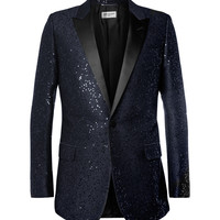 Saint Laurent - Sequin-Embellished Wool-Blend Tuxedo Jacket | MR PORTER