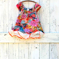 Upcycled Bohemian Floral Summer Top , Bright Indie Fashion size L , eco boho colorful orange trim top , sustainable clothes by wearlovenow