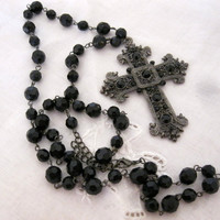 Vintage Jet Black Crystal Ornate Marcasite Cross Necklace