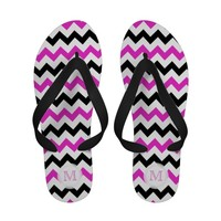 Monogram: Pink, Black And White Sandals