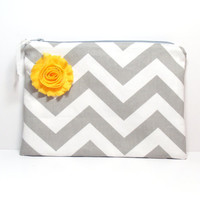 Bridal Wedding Clutch - Chevron - Gray Yellow - Shabby Rose Flower - Zippered Bag