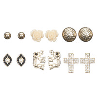 Elephant Mixed Button Earring Set | Wet Seal