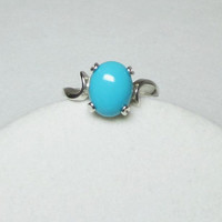 Ring Sleeping Beauty Arizona Turquoise Set In Sterling Silver Ring 10x8mm Size 6, 7