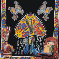 Psychedelic Mushroom Tapestry, Throw Bohemian Wall Hanging, Indian Tapestry, Sun-Butterfly Tapestry, Mushroom Frog Hippie Hippy Tapestry