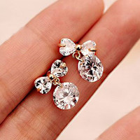 Bow All Rhinestone Earrings