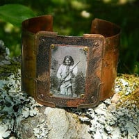 Geronimo MENS copper bracelet Native American image by peacemama73
