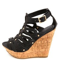 Looped Strappy Gladiator Wedge Sandals