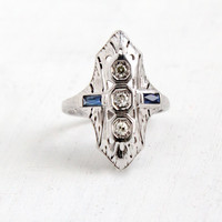 Antique 18K White Gold Diamond & Sapphire Ring- Art Deco 1920s Size 7 1/2 Filigree Embossed Open Metal Statement Jewelry