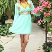 Wrapped in Sequins Dress Mint