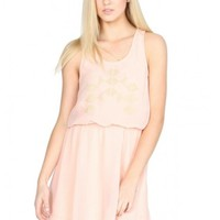 Pink Sleeveless Mini Dress w/ Gold Geometric Embellishment