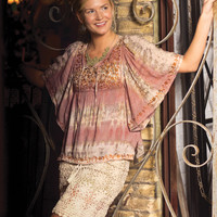 Embroidered Peasant Top: Soul Flower Clothing