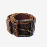 Vintage genuine leather belt brown genuine leather belt mens leather belt tooled leather belt wide leather belt cowboy leather belt