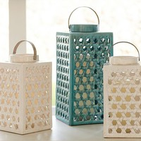 Shoreline Ceramic Lattice Lanterns - Ivory