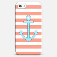 Coral Stripes Summer Love Anchor iPhone 5s case by Organic Saturation | Casetagram