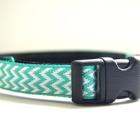 Aqua Chevron Dog Collar Adjustable Sizes (XS, S, M)