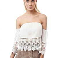 White Off Shoulder Mexi Crop Top