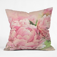 Lisa Argyropoulos Pink Peonies Outdoor Throw Pillow