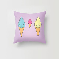 Throw Pillow Decorative Pillow Case Kawaii Ice Cream Purple Sweets Japanese Made to Order Photo Pillow 16x16, 18x18, 20x20 Home Decor