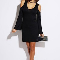 Black Cutout Back Bell Sleeve Mini Dress