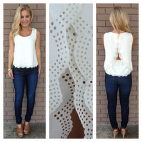 Ivory Scallop Cut Sleeveless Blouse