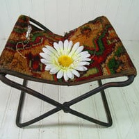 Antique Tapestry & Heavy Metal Petite Folding Stool Buggy Seat - Vintage Original Rug Camp Chair - Shabby BoHo Chic Industrial Photo Prop