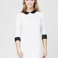 White Monochrome Shift Dress