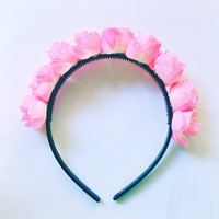 "Handmade ""Flower Fairy"" Pink Rosebud Flower Crown Headband Easter Spring Hair Accesories"
