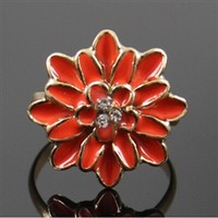 Orange flower adjustable ring