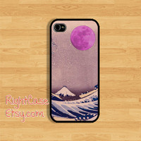 ABSTRACT Sea IPHONE 5S CASE Pink Moon and Japanese Sea iPhone Case iPhone 5 Case iPhone 4 Case Samsung Galaxy S4 S3 Case iPhone 5c iPhone 4s