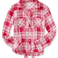 Long Sleeve Plaid Cropped Woven Shirt