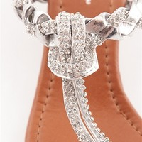 Glimmer of Glamour Jeweled and Woven Wedge Thong Sandals - Silver