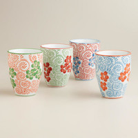 Blue Pacific Teacups, Set of 4