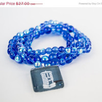 SPRING SALE Allons-Y Doctor Who Themed Bracelets - Set of 3 Blue Iridescents Beads Bracelets