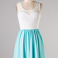Summer Sky Aqua and Lace Dress