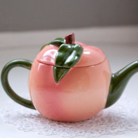 Adorable Peach Shaped Tea Pot, Peachy Pink and Green