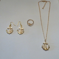 Gold Anchor Nautical Necklace Pendant Dangle Earrings Ring Set Costume Jewelry Beach Spring Summer