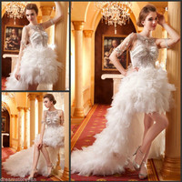 YZ Luxury Crystal Bright Diamond Sexy Fancy Wedding Dress FVXF
