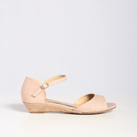 Fabric Low Wedge Sandal in Beige