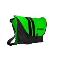 Personalized Neon Green Racing Stripe Messenger