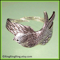 Adjustable Swallow ring Antiqued silver ring by RingRingRing