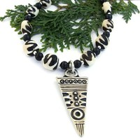 African Tribal Handmade Necklace Batik Bone Pewter Beaded Jewelry OOAK | ShadowDogDesigns - Jewelry on ArtFire