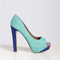 Suede Colorblocking Peep Toe Pumps in Teal