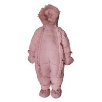 Rothschild Baby Girl Snowsuit Pink with Faux Fur Trim on Hood Size 12m-18m (12M)