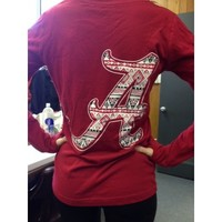 Alabama long sleeve V neck Aztec shirt