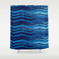 sparkly and dark blue adventure Shower Curtain by Marianna Tankelevich