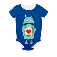 Blue Cartoon Robot With Heart All Over Print Bodys