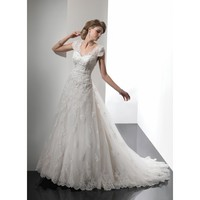 Vintage Cap Sleeves Satin Tulle Bridal Gown