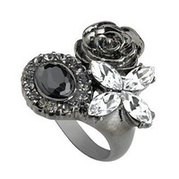 GUESS Ring, Jet and Clear Crystal Flower - Rings - Jewelry & Watches - Macy's