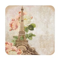 Paris Pink Roses Vintage Romantic Coasters